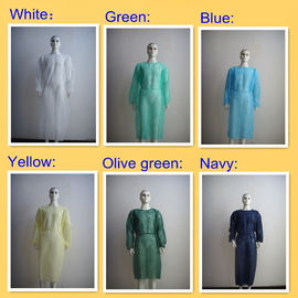 Non Woven Disposable Isolation Gowns With Elastic Cuff / Long Sleeves